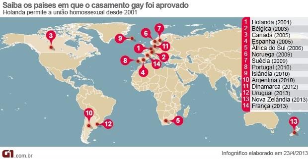 Vale este - mapa países que aprovaram o casamento gay (Foto: Arte/G1)