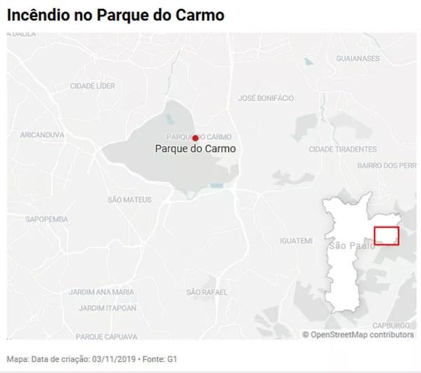 Mapa do Parque do Carmo — Foto: Editoria de Arte/G1