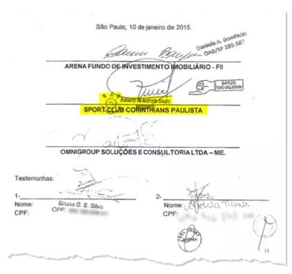 O contrato de estacionamento da Arena Corinthians (Foto: Reprodução)