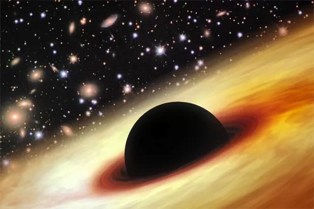 Concepção artísitca de um quasar com um buraco negro supermaciço no  universo distante  (Foto: Zhaoyu Li/Shanghai Astronomical Observatory)