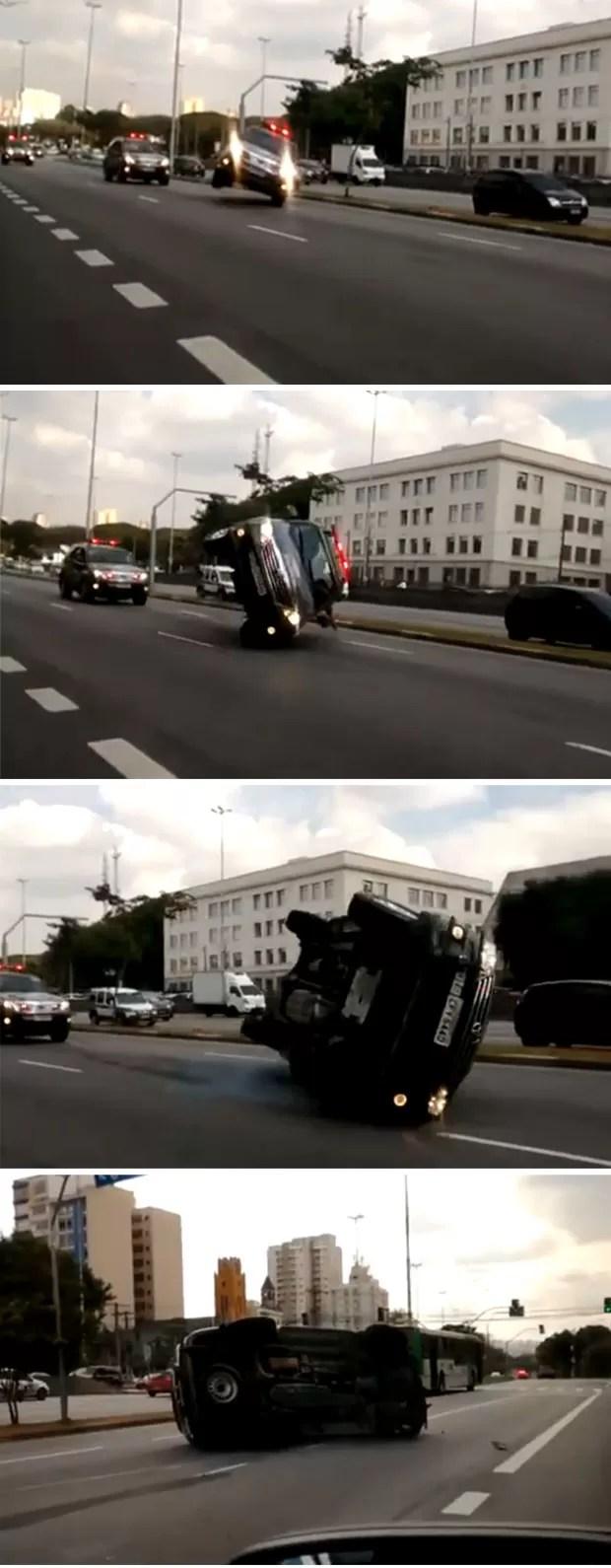 Vídeo mostra acidente com carro da polícia em avenida de São Paulo (Foto: Reprodução TV Globo)