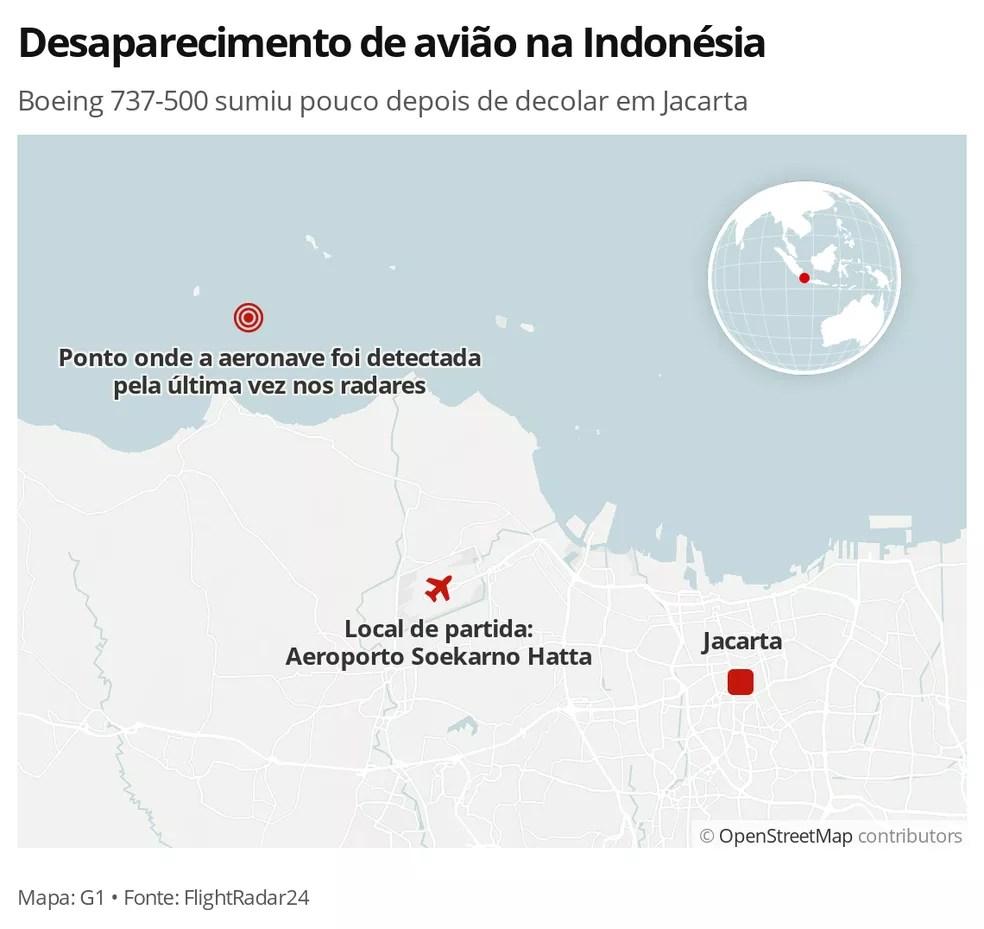 MAPA: Local do desaparecimento da aeronave da Sriwijaya Air na Indonésia — Foto: G1 Mundo