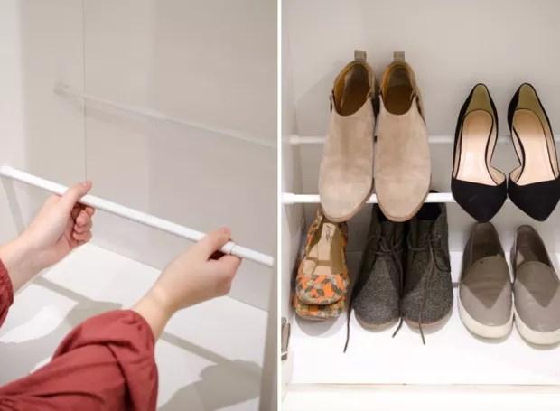 Um par de barras paralelas apoia sapatos baixos; dispostas de forma desencontrada, é mais fácil apoiar modelos com salto (Foto: Pinterest/Reprodução)