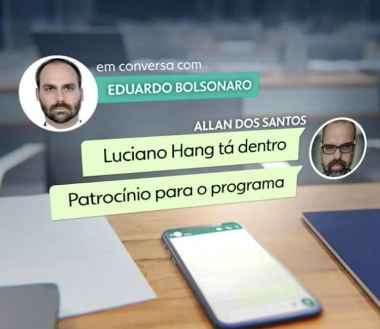 Documentos obtidos pela CPI  mostram que Hang financiou  blogueiro acusado por fake news  com ajuda de Eduardo Bolsonaro — Foto: Reprodução/Jornal Nacional