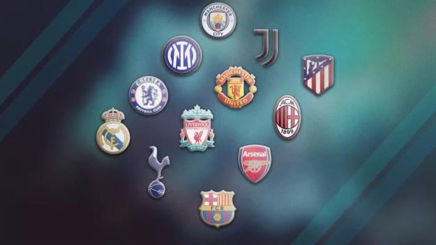 Os 12 clubes fundadores da Superliga Europeia — Foto: Infoesporte
