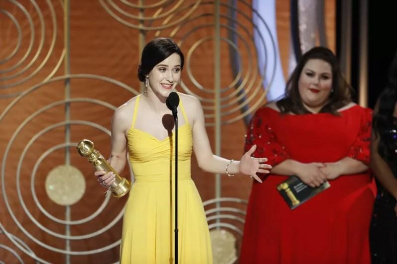 Rachel Brosnahan vence o Globo de Ouro de melhor atriz em série de comédia ou musical por 'The Marvelous Mrs. Maisel' — Foto:  Paul Drinkwater/NBC Universal/Handout via REUTERS