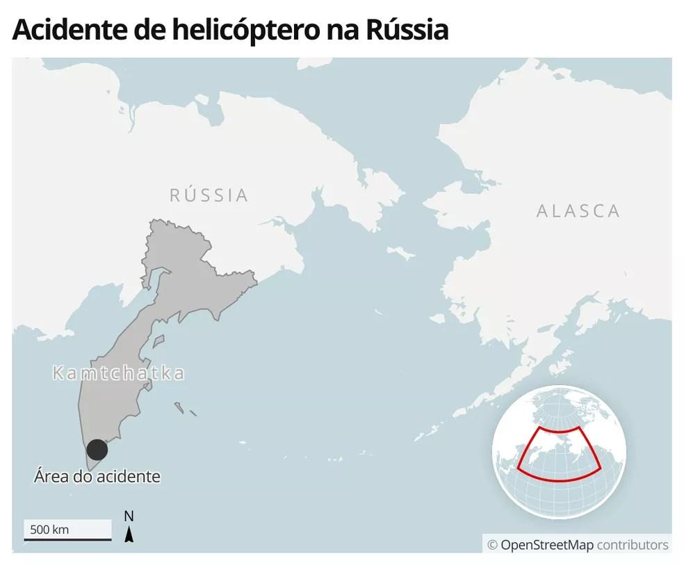 Acidente de helicóptero na Rússia em 12 de agosto de 2021 — Foto: G1 Mundo
