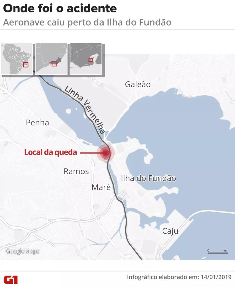 Mapa mostra onde o Fênix 08 da PM caiu — Foto: Infografia: Claudia Ferreira/G1