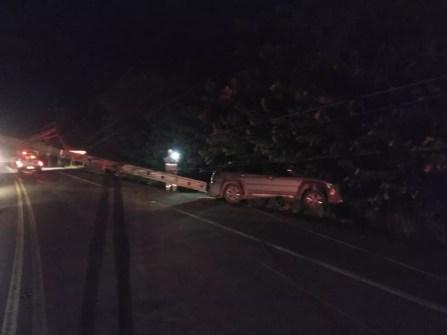 Um dos carros foi jogado para o acostamento da AL-101 Norte e acabou derrubando o poste — Foto: Ascom/BPRv