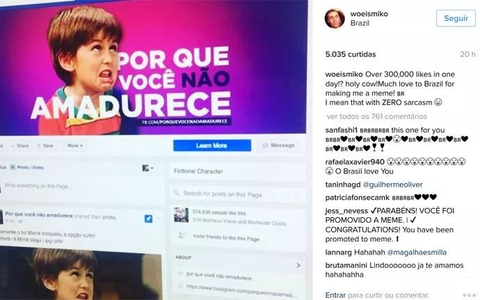 Ator Miko Hughes comentou meme brasileiro 'Por que você não amadurece?'