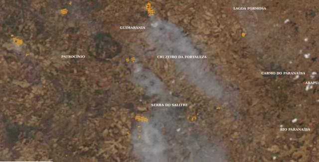 Imagem de satélite do Inpe mostra pontos de incêndio no Cerrado em Minas Gerais, no dia 9 de setembro. — Foto: Inpe