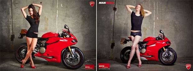 Ensaio mostra homens imitando poses femininas com motos (Foto: Alicia Mariah Elfving/Divulgação)