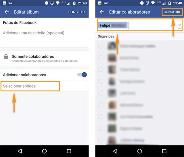 Selecione amigos para o grupo de colaboradores do álbum do Facebook pelo Android (Foto: Reprodução/Barbara Mannara)