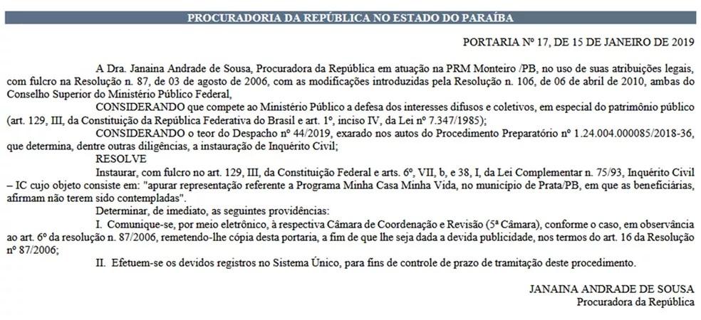 Procedimento foi publicado no Diário Eletrônico do MPF desta quinta-feira (17) — Foto: Reprodução