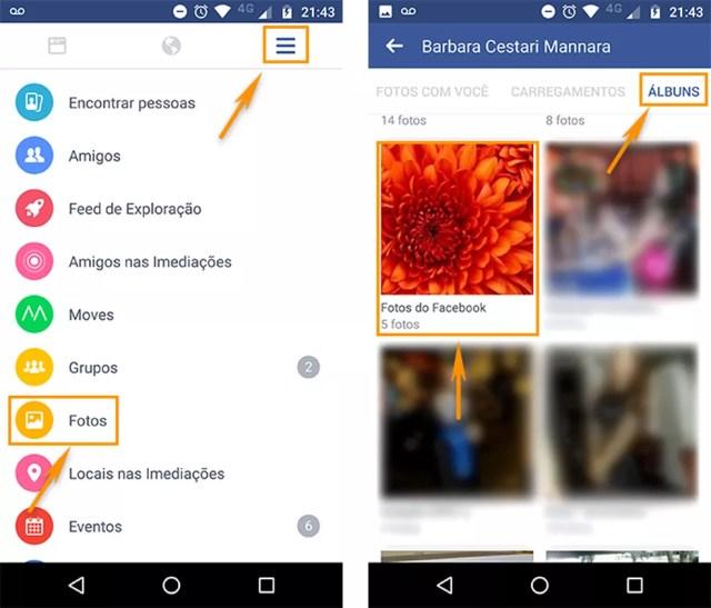 Acesse seus álbuns de fotos no aplicativo do Facebook para Android (Foto: Reprodução/Barbara Mannara)