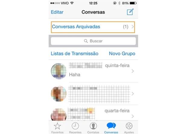 Selecione a tela de conversas arquivadas no WhatsApp pelo iOS