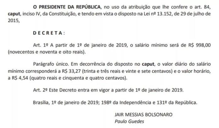 Decreto assinado pelo presidente Jair Bolsonaro — Foto: Reprodução/'Diário Oficial'