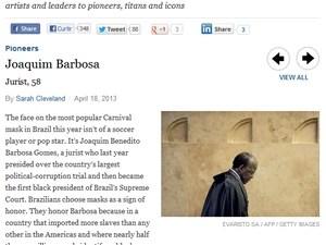 """No site da Times, perfil de Joaquim Barbosa diz que o ministro simboliza o """"novo Brasil""""  (Foto: reprodução/times)"""