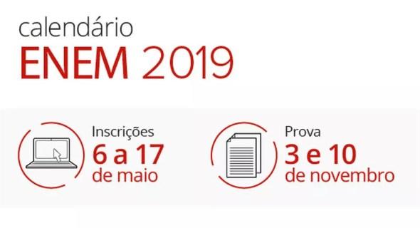 Calendário do Enem 2019 — Foto: Arte/G1
