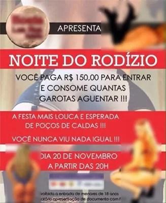 Cartaz anunciava 'rodízio de mulheres' em festa prevista para Poços de Caldas (Foto: Reprodução)