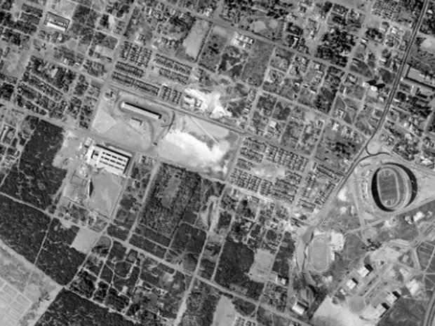 Estádio das Dunas, em Natal, em foto feita em fevereiro de 1979 (Foto: Base Aerofotogrametria)