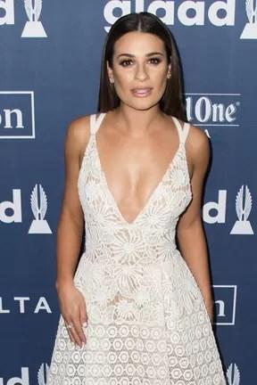 Lea Michele em prêmio em Los Angeles, nos Estados Unidos (Foto: Valerie Macon/ AFP)