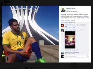 Postagem do brasiliense que é sósia do meia-atacante Hulk, em rede social
