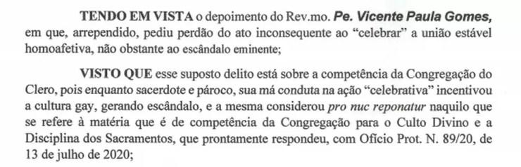 Segundo a Diocese de Assis, padre se arrependeu e pediu perdão por ter abençoado união homoafetiva — Foto: Diocese de Assis/Reprodução