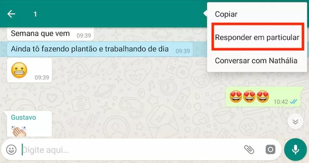Possibilidade de responder conversa de grupo em chat particular é novidade do WhatsApp — Foto: Reprodução