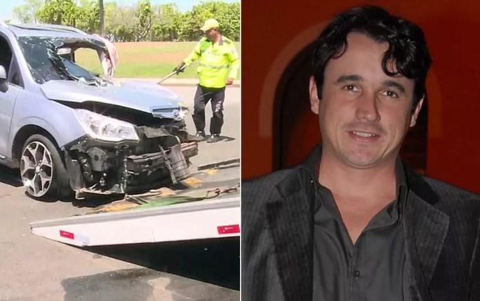 Montagem com fotos de carro acidentado no Rio e do ator Caio Junqueira — Foto: Reprodução/TV Globo; Bob Paulino/TV Globo