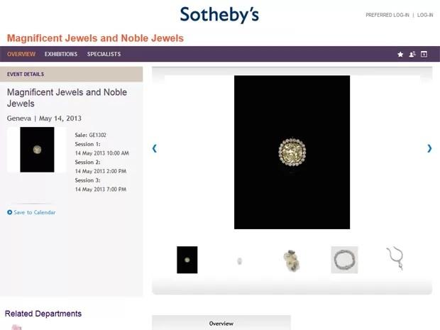 Joias da atriz italiana Gina Lollobrigida, em leilão na Sotheby's (Foto: Reprodução/Sotheby's)