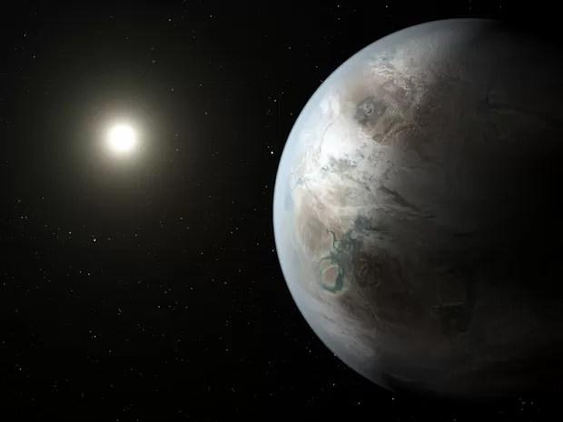 Concepção artística mostra o exoplaneta Kepler-452b, o primeiro com tamanho aproximado da Terra a ser encontrado em uma zona habitável (Foto: NASA/JPL-Caltech/T. Pyle)