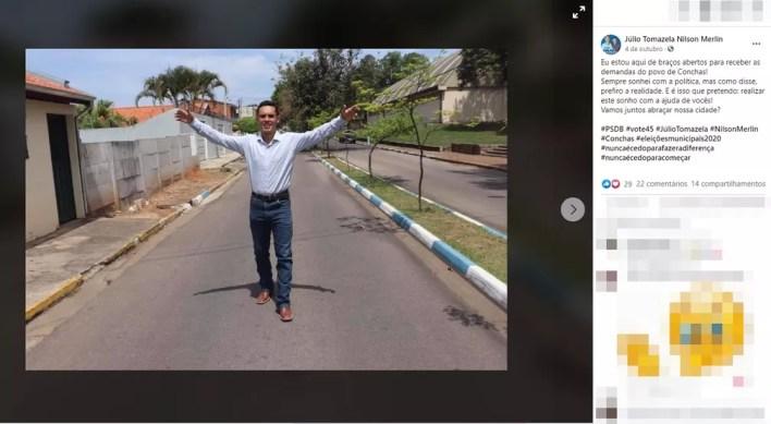 Júlio Tomazela (PSDB), de 21 anos, foi eleito prefeito de Conchas (SP) — Foto: Reprodução/Facebook