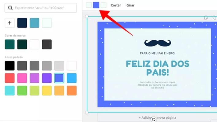 Mude as cores dos objetos do cartão criado no Canva — Foto: Reprodução/Paulo Alves