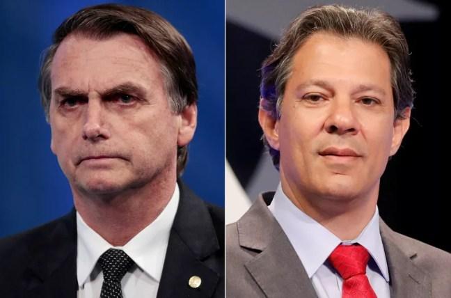 Os candidatos do PSL, Jair Bolsonaro, e do PT, Fernando Haddad — Foto: REUTERS/Paulo Whitaker/Nacho Doce