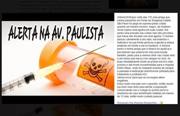 Em post no Facebook, amiga relatou agulhada sofrida por amiga na Av. Paulista (Foto: Reprodução/Facebook)