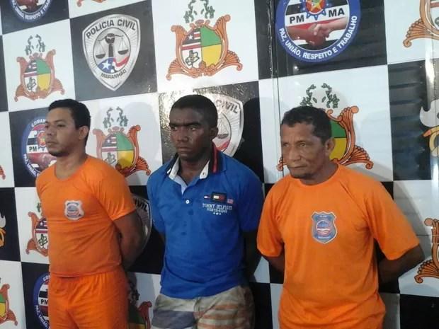 Suspeitos de assalto a banco presos no Maranhão (Foto: Alessandra Rodrigues/Mirante AM)