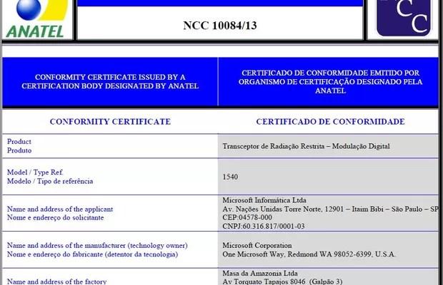 Certificado do Xbox divulgado no site da Anatel: 1540 é o número do modelo do Xbox One (Foto: Reprodução Internet/sistemas.anatel.gov.br)