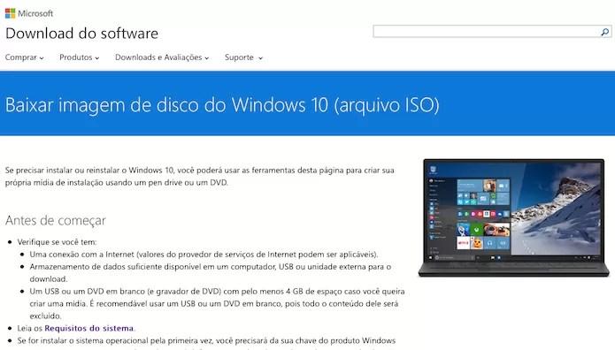 Acesse a página de downloads do Windows 10 (Foto: Reprodução/Helito Bijora)
