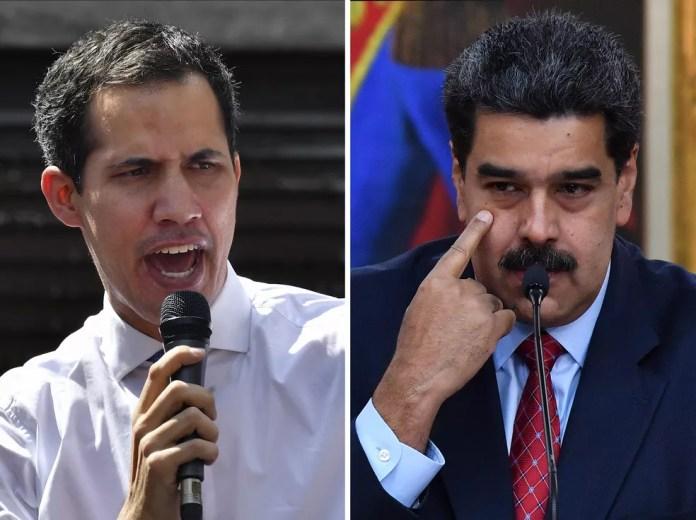 Combinação de fotos mostra Juan Guaidó e Nicolás Maduro — Foto: Yuri Cortez/ AFP