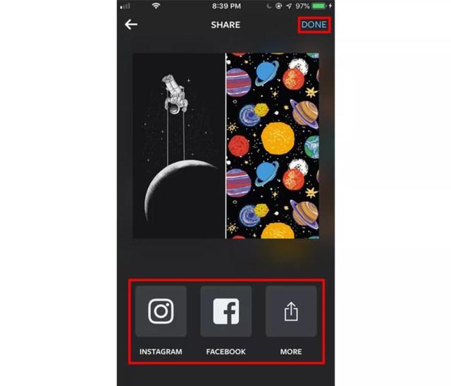 Compartilhe a colagem nas redes sociais a partir do Layout — Foto: Eduardo Manhães/TechTudo