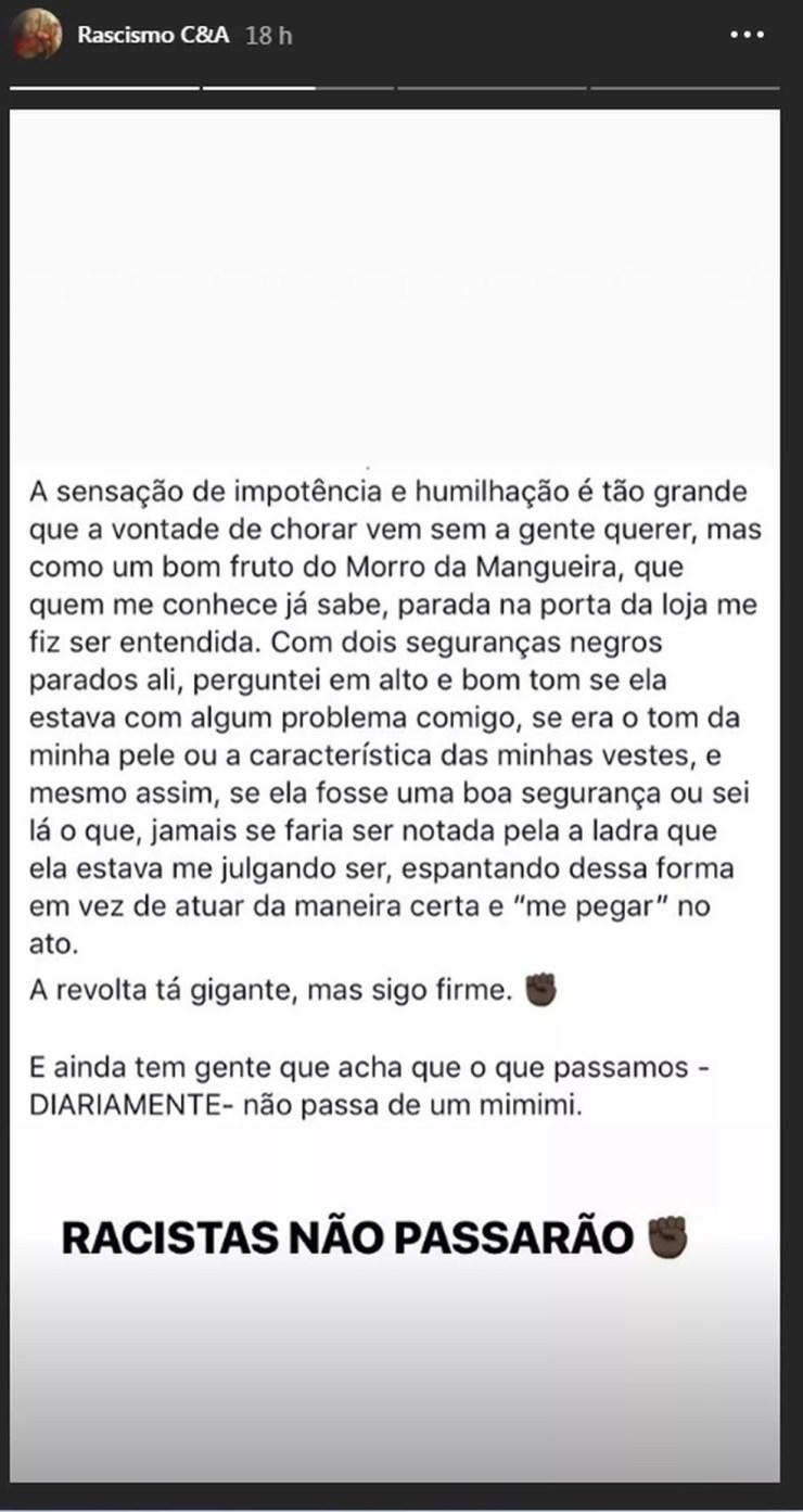 Vitória Meirelles, filha de Ivo Meirelles, relata caso de racismo em loja da C&A (Foto: Reprodução/Instagram)