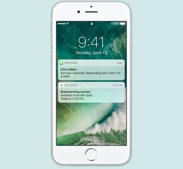 iOS 10 tem tela de bloqueio com novas notificações e atalhos (Foto: Reprodução/Apple)