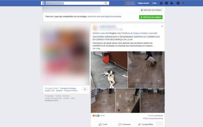 Postagem de ativista nas redes sociais relata que cachorro foi espancado e envenenado por funcionário de unidade do Carrefour  — Foto: Reprodução/Facebook