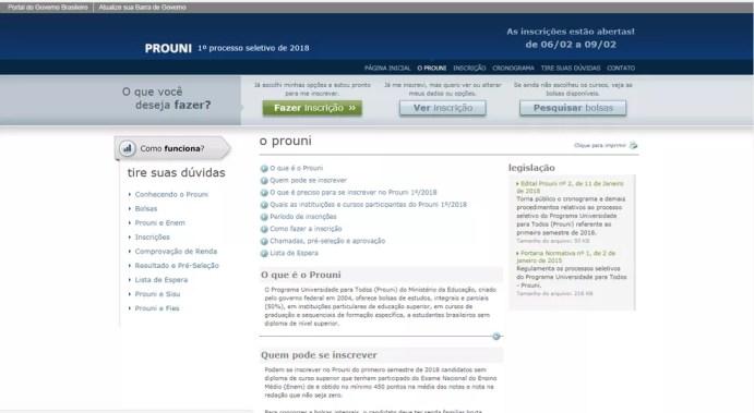 Inscrições no Prouni seguem até as 23h59 desta sexta-feira (9) .  (Foto: Reprodução/Portal do Prouni)