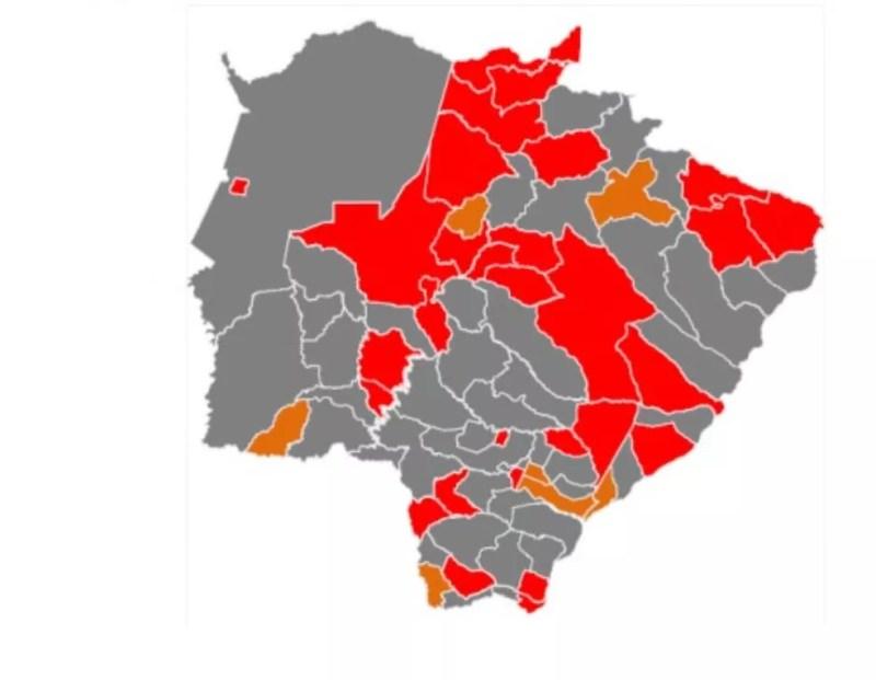 Novo mapa de classificação de risco do Prosseguir, com 43 municípios em bandeira cinza — Foto: Divulgação/Subcom