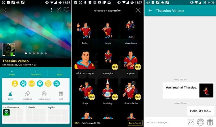 Hello mostra interesses comuns e permite mandar mensagens ou reações (Foto: Reprodução/Elson de Souza)