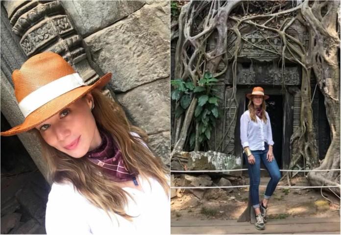 Turista fashion: atriz apostou em visual estiloso no templo de Ta Prohm (Foto: Arquivo Pessoal)