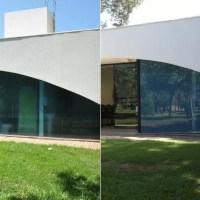 Fachada de banheiro 'transparente' do oeste do Paraná ganha película.