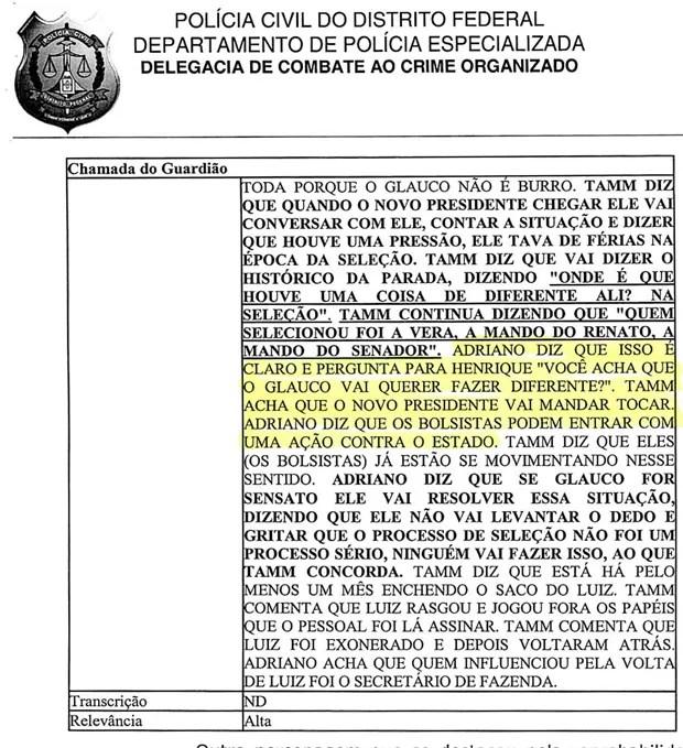 Inquérito da Polícia Civil do Distrito Federal (Foto: Reprodução)